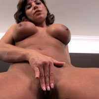 Busty brunette babe masturbating with her dildo